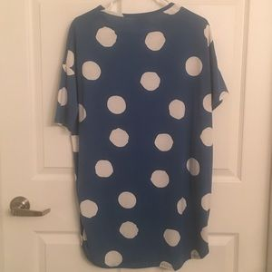 LuLaRoe Tops - Blue and white LulaRoe Irma top - XS